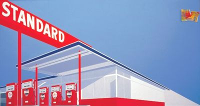 Standard Station 10c Western Being Torn in Half by Ed Ruscha