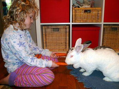 Carrie feeding carrots, double--barreled